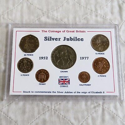 1977 7 COIN SILVER JUBILEE UNCIRCULATED SET WITH CROWN - cased