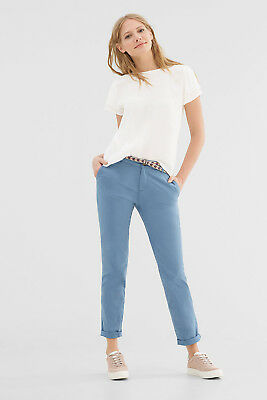 NEW Esprit Womens Chinos with woven belt in an ethnic look GREY BLUE