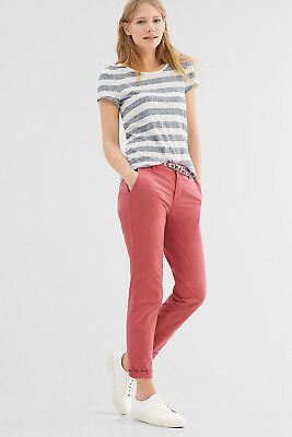 NEW Esprit Womens Chinos with woven belt in an ethnic look CHERRY RED