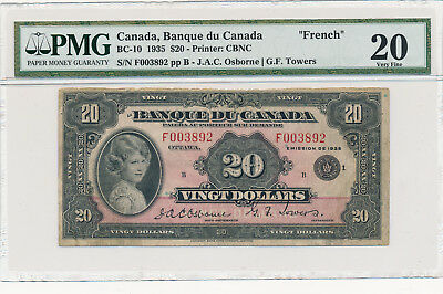 Bank of Canada French 20 Dollars 1935 - PMG 20 Very Fine