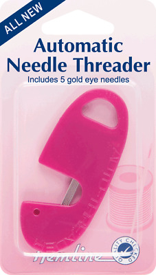 Hemline H230 | Automatic Hand Sewing Needle Threader Includes 5 Gold Eye Needles