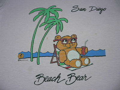 Vtg 80s SAN DIEGO BEACH BEAR T-SHIRT PINK! TOURIST TRUE ATHENTIC SzYM 50/50