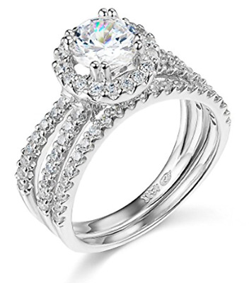 3.25 Ct Round Solid 14K White Gold Halo Split Shank Engagement Wedding Ring Set