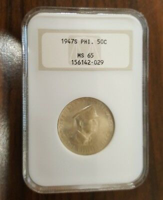 Philippines - Silver 50 Centavos - 1947S - General MacArthur - NGC MS-65