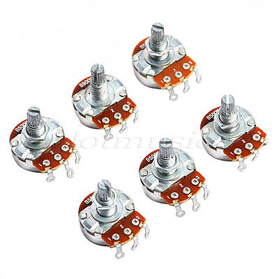 6 Pcs Full Size B-500K B500K Pot Potentiometer for Guitar Parts Chrome