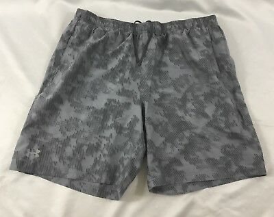 Under Armour MEN'S Athletic Shorts Loose Heat Gear Gray Print 1291356 Size 2XL
