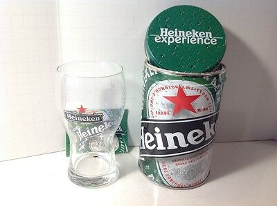 Heineken Experience Tin Can and Beer Glass