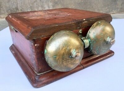 Antique Double Electric Door Bell Doorbell Wood & Brass Victorian Servant Call