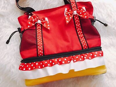 Authentic Disney Minnie Mouse Canvas Tote Summer Beach Bag Zip Cooler Lunch Bag