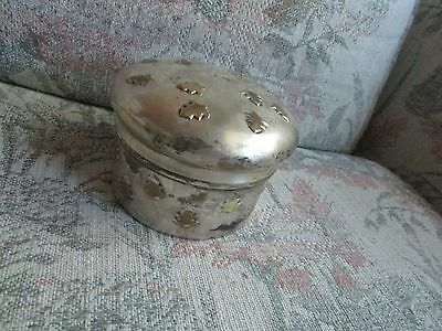 "Round Metal Thornbury Trinket Box with Tree Design, approx 5"" across"