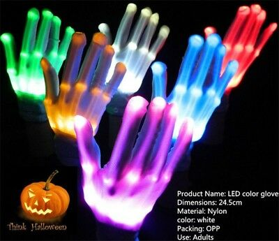 New LED Rave Halloween Flashing Gloves Glow 7 Mode Light Up Finger Lighting