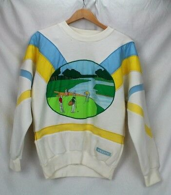 VTG 80's ADIDAS The Hills Classic 13th Your Waterloo GOLF SWEATSHIRT Sm HIP-HOP