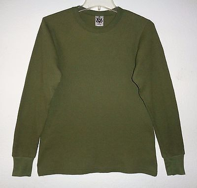 Vintage Authentic Army Green Waffle Thermal Shirt Olive Long Sleeve Boys Xl Rare