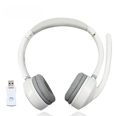 White Color 2.4G Wireless stereo Headset with microphone For PC Phone