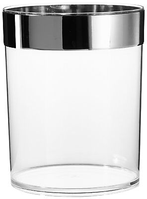Carnation Home Fashions Clear Waste Basket with Chrome Trim CAR-BA-ACR/WB