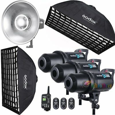 3Pcs Godox DS300 3x300W Studio Strobe Flash Light +Trigger +Softbox +Dish Kit