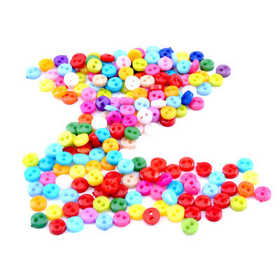 200pcs  6mm Mixed Colors Round Shape Acrylic Buttons 2 Holes Sewing Accessories