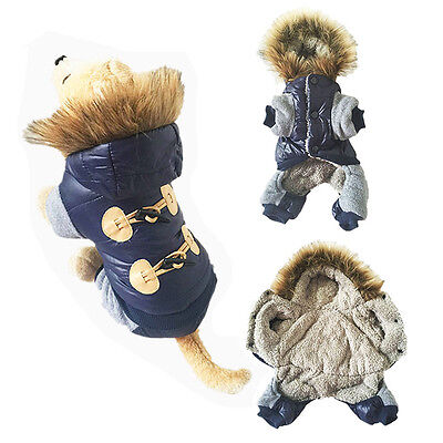 Pet Clothes Dog Winter Warm Thickening Coats Puppy Cotton-padded Hoodie Jacket