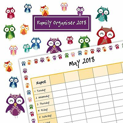 Owls 2018 Family Organiser Wall Calendar (Gifted Stationery) Postage Included