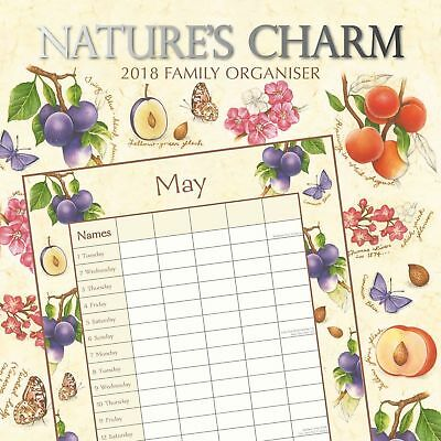 Nature's Charm 2018 Family Organiser Wall Calendar (Gifted Stationery) Post Free