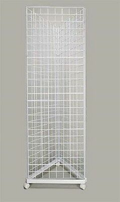 Wire Grid Triangle Tower Display Rack Casters Rolling Casters White 2' x 6 ½' H