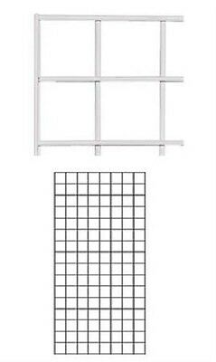 Set of 2 Gridwall Panels 2' x 4' Grid Wall Display White Panel Steel Wire