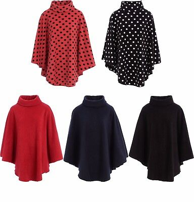 Ladies Womens Fleece Poncho Capes Polo Neck Anti Pill Fleece Cosy Winter Warm