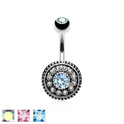 Multi CZ Paved Vintage Shield 316L Surgical Steel Belly Bar / Navel Ring