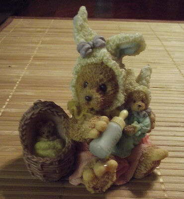 Precious BUNNY & BABIES Figurine w/Baby Bottle & Baby Basket ~ Resin