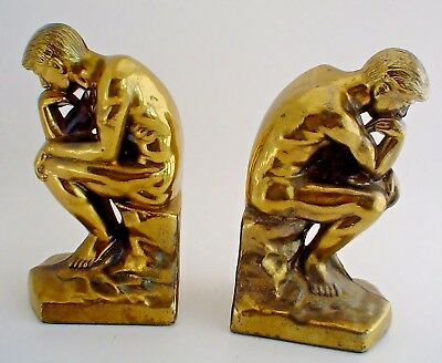 "Vintage Brass Art Deco Bookends Rodin's ""The Thinker"" Statue Circa 1928"