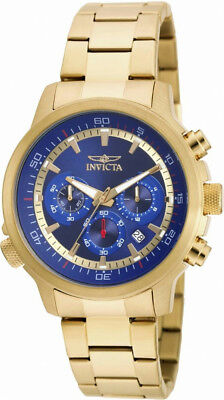 Invicta Specialty 19241 Men's Round Blue Chronograph Date Analog Gold Tone Watch