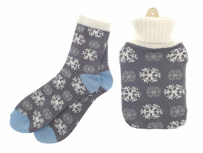 Country Club Hot Water Bottle with Cover & Ladies Sock Gift Set Grey Snowflake