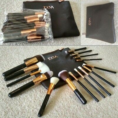 NEW 15pcs Complete Zoeva Make Up Brush Set Bag Brushes Rose Golden UK SELLER