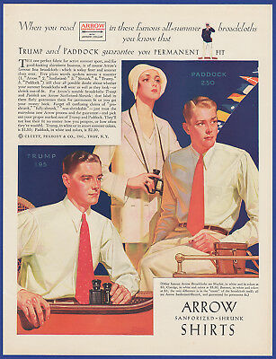Vintage 1931 ARROW Shirts Trump Paddock Men's Fashion Frederic Stanley Print Ad