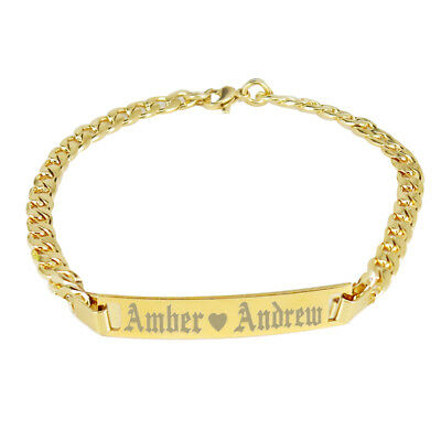 Personalized Gold Bar Bracelet Roman Numeral/Name Bar for Men and Women