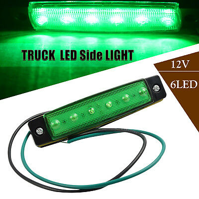 1Pc 3.8'' 6 LED Side Marker Light Green Indicators Trailer Truck Bus Boat Lorry