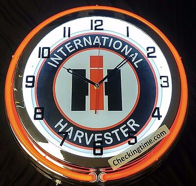"International Harvester 19"" Double Neon Clock Tractor Farmall"