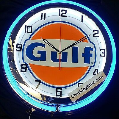 "19"" Double Neon Clock Gulf Oil Gas New Logo Chrome Finish"