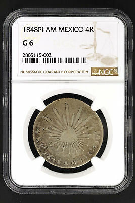 1848PI AM Mexico Silver 4 Reales NGC G-6 Very Rare! Last One Sold in 2006-147449