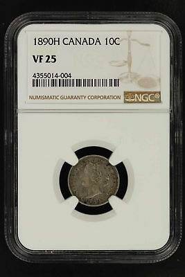 1890H Canada Silver Dime NGC VF-25 -150281