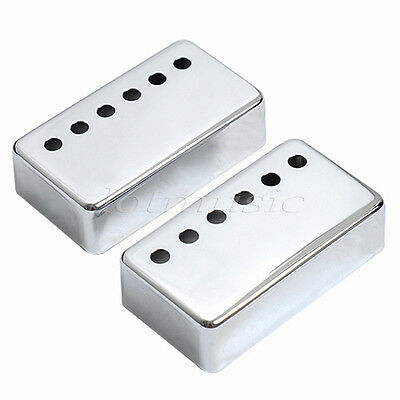 Set of 2 Humbucker Neck and Bridge Guitar Pickup Covers Chrome Metal
