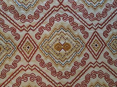 """EXCLUSIVE Lee Jofa Embroidered Fabric """"Abyssinia Red/Gold""""- 1 1/2 Yards"""