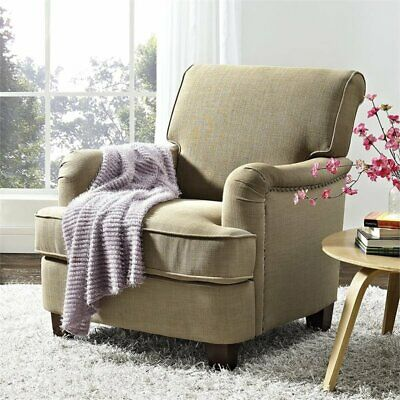 Dorel Living Rolled Top Club Chair with Nailheads in Oatmeal