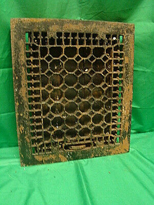 Antique Late 1800's Cast Iron Heating Grate Honeycomb Design 14 X 12 Rfd