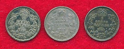 Canada 1911, 1912 & 1919 5 CENTS (3 Coins)  SILVER!