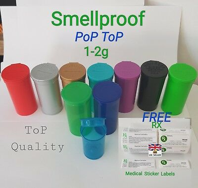 50x 1-2g SqueeZe Smellproof Pop ToP medical weed tubs FREE LABELS 13dram