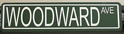"METAL STREET SIGN "" WOODWARD AVE ""  Dream Cruise DETROIT GTO HEMI R/T"