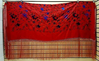 Nice Red Homemade Flower Design Triple Tied Fringe Native American Indian Shawl