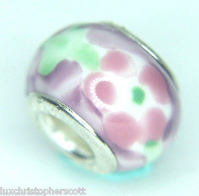925 Sterling Silver Murano Glass Millefiori Venetian Style Bead Pink green