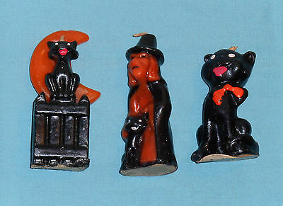 vintage Halloween GURLEY CANDLE LOT OF 3 black cat, cat/fence/moon, witch/cat